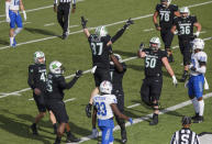 Marshall tight end Hayden Hagler (87) celebrates a touchdown catch against Middle Tennessee with teammates during an NCAA college football game Saturday, Nov. 14, 2020, in Huntington, W.Va. (Sholten Singer/The Herald-Dispatch via AP)