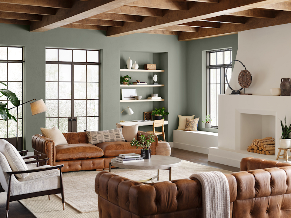 A look at the Evergreen Fog color in a room.