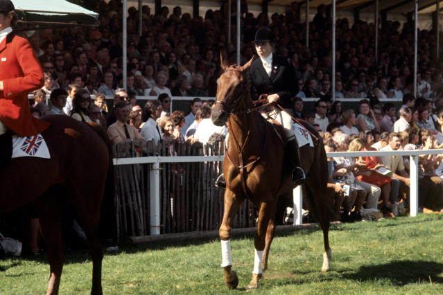 Princess Anne on Doublet in 1971 - one of the Queen's favourite horses, and likely, riders. (PA Images)