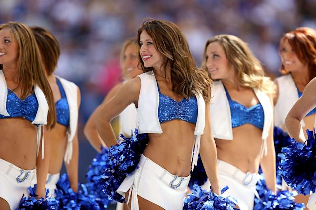 INDIANAPOLIS, IN - SEPTEMBER 16: Indianapolis Colts cheerleaders performs during the NFL game against the Minnesota Vikings at Lucas Oil Stadium on September 16, 2012 in Indianapolis, Indiana. (Photo by Andy Lyons/Getty Images)