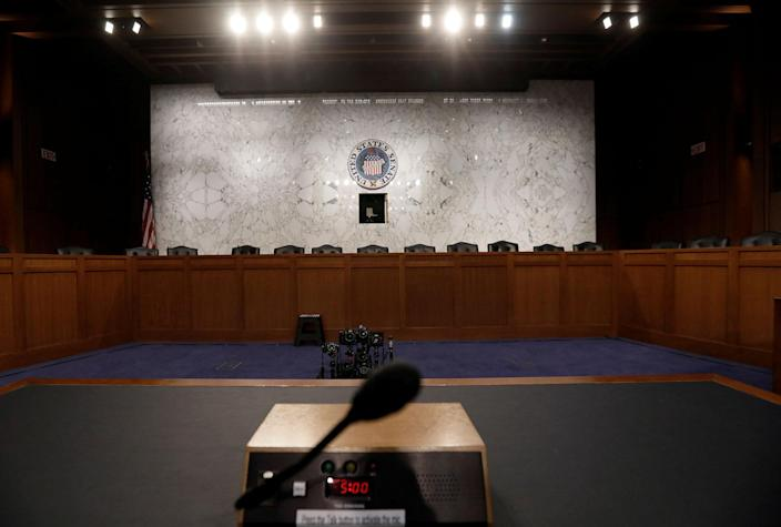 <p>The witness table where former FBI Director James Comey will face the U.S. Senate Intelligence Committee and testify on June 8 about his meetings with President Trump sits at the ready in Washington, June 7, 2017. (Photo: Jim Bourg/Reuters) </p>