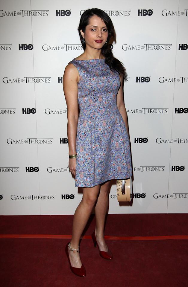 "Amrita Acharia attends the ""<span style=""text-decoration:underline;""></span><a target=""_blank"" href=""http://tv.yahoo.com/game-of-thrones/show/41208"">Game of Thrones</a>"" Season 1 DVD premiere at Old Vic Tunnels on February 29, 2012 in London, England."