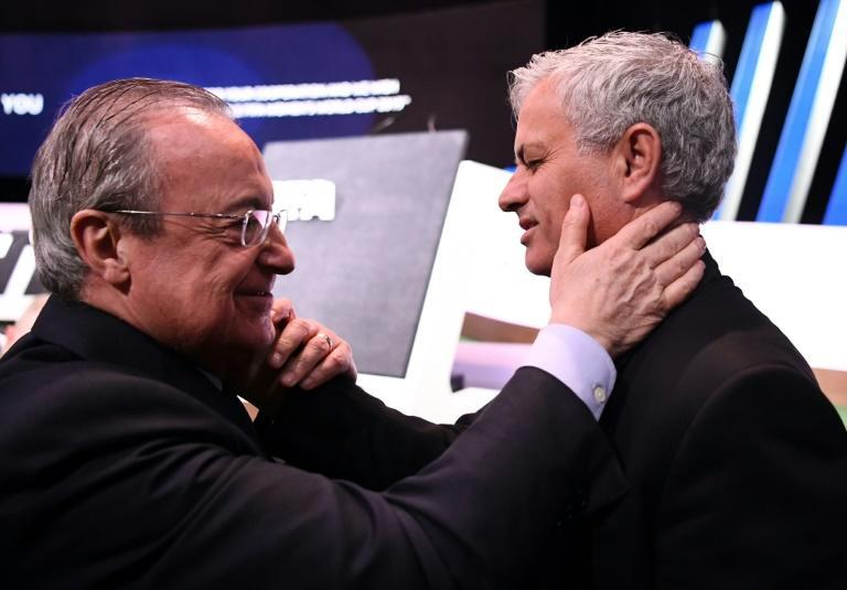 'Terrible ego': Florentino Perez embraces former Real manager Jose Mourinho at a FIFA Congress in Paris Expo in June 2019
