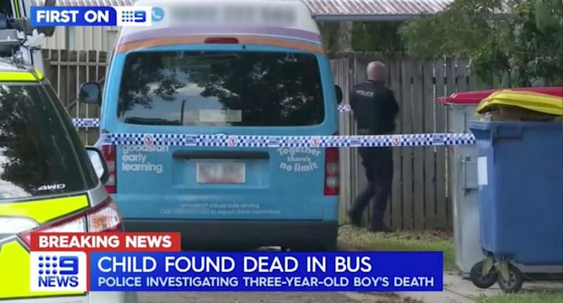 The minibus the child was found inside. Source: Nine News
