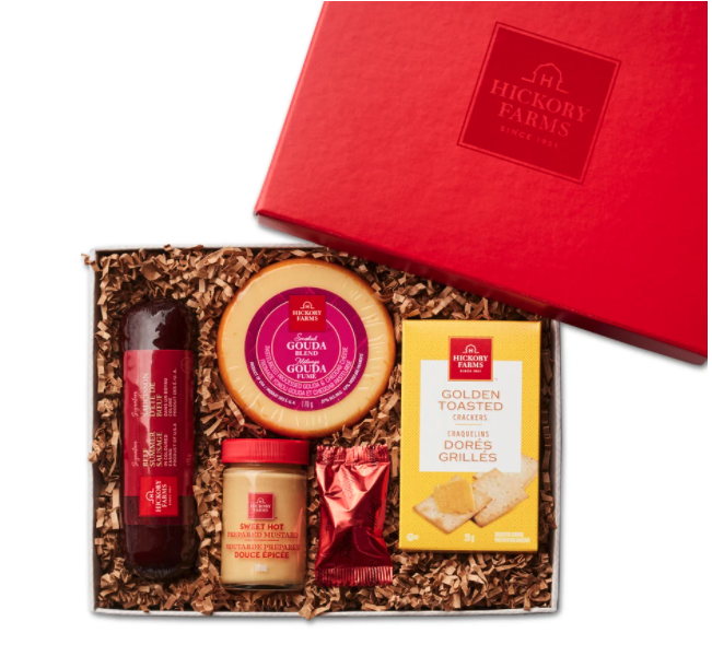 Open box of Hickory Farms Classic Beef & Cheese gift basket