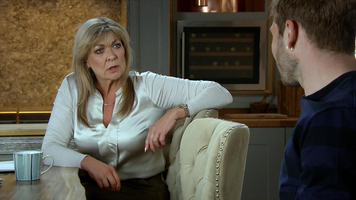 FROM ITV  STRICT EMBARGO  Print media - No Use Before Tuesday 1st June 2021 Online Media - No Use Before 0700hrs  Tuesday 1st June 2021  Emmerdale - Ep 9066  Monday 7th June 2021  A scared Kim Tate [CLAIRE KING] confides to Jamie Tate [ALEXANDER LINCOLN] the reason for her surveillance is someone has been drugging her. Jamie's hurt that Kim suspected him.   Picture contact David.crook@itv.com   This photograph is (C) ITV Plc and can only be reproduced for editorial purposes directly in connection with the programme or event mentioned above, or ITV plc. Once made available by ITV plc Picture Desk, this photograph can be reproduced once only up until the transmission [TX] date and no reproduction fee will be charged. Any subsequent usage may incur a fee. This photograph must not be manipulated [excluding basic cropping] in a manner which alters the visual appearance of the person photographed deemed detrimental or inappropriate by ITV plc Picture Desk. This photograph must not be syndicated to any other company, publication or website, or permanently archived, without the express written permission of ITV Picture Desk. Full Terms and conditions are available on  www.itv.com/presscentre/itvpictures/terms