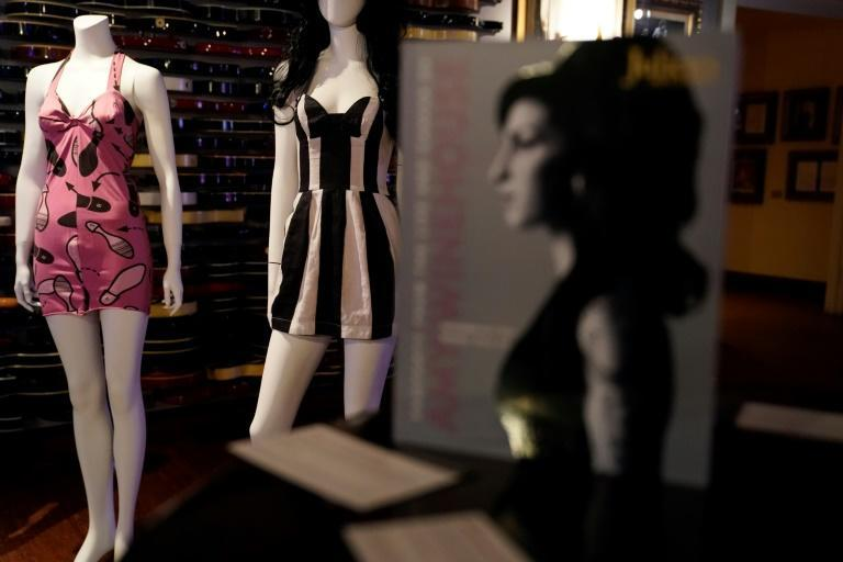 """Dresses belonging to Amy Winehouse were displayed at the New York press and public exhibition of the """"Property From The Life And Career Of Amy Winehouse"""" by Julien's Auctions on October 11, 2021 (AFP/TIMOTHY A. CLARY)"""