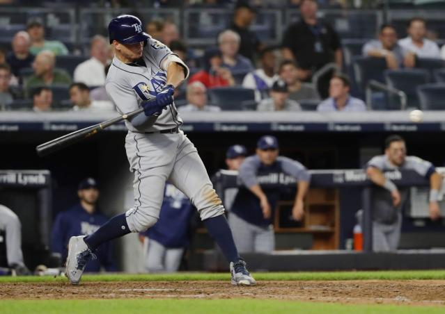 "<a class=""link rapid-noclick-resp"" href=""/mlb/players/9893/"" data-ylk=""slk:Willy Adames"">Willy Adames</a> knocked a home run in Tuesday's loss to the Yankees (AP Photo/Frank Franklin II)"