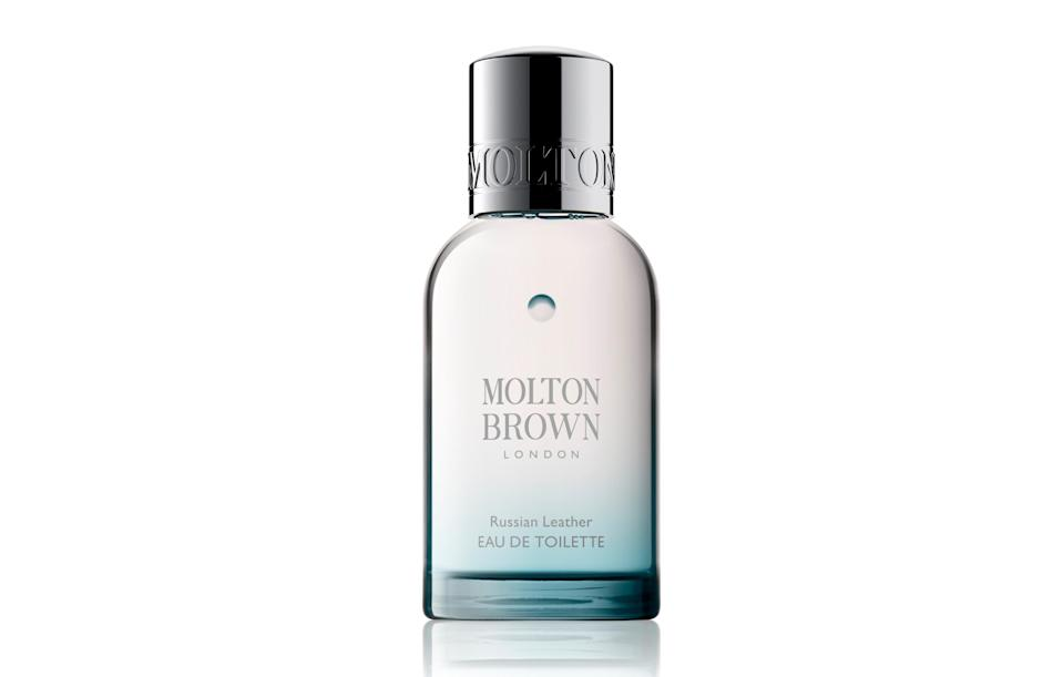 "<p><a href=""https://www.moltonbrown.co.uk/store/collections/russian-leather/russian-leather-eau-de-toilette/KEJ083/"" rel=""nofollow noopener"" target=""_blank"" data-ylk=""slk:Molton Brown, £45"" class=""link rapid-noclick-resp""><i>Molton Brown, £45</i></a><br><br></p>"