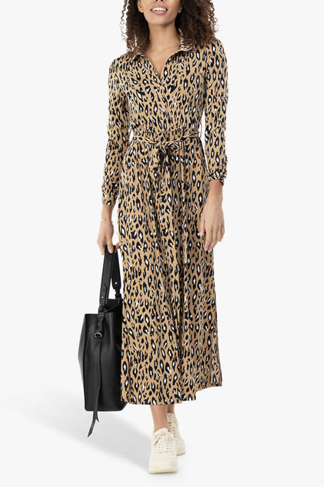 Style the Leopard Print Midi Shirt Dress with white trainers or heels depending on the occasion. (John Lewis & Partners)