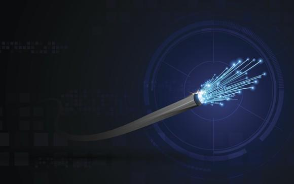 Artist's rendering of a fiber optic cable.