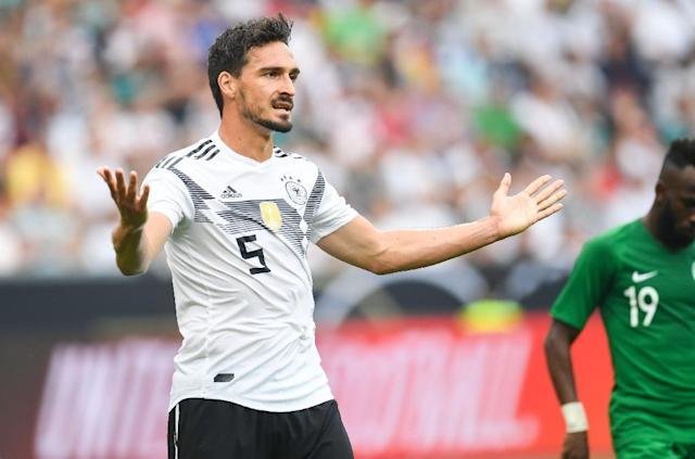 Mats Hummels is set to miss Germany's clash with Sweden with a neck problem (AFP Photo/Patrik STOLLARZ)