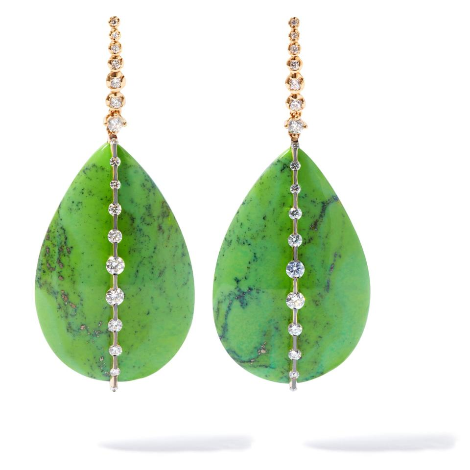 """<p>Inspired by her travels around the world, these statement earrings by Annoushka are made from turquoise, AKA 'the jewel of the desert'. </p><p>Gold, turquoise and diamond earrings, price on request, Annoushka</p><p><a class=""""body-btn-link"""" href=""""https://go.redirectingat.com?id=127X1599956&url=https%3A%2F%2Fwww.annoushka.com%2Fuk%2F18ct-gold-nevada-turquoise-diamond-earrings-029659.html&sref=https%3A%2F%2Fwww.townandcountrymag.com%2Fuk%2Fstyle%2Fjewellery%2Fg32727030%2Fthe-best-natural-jewellery-to-gift%2F"""" target=""""_blank"""">SHOP NOW</a></p>"""