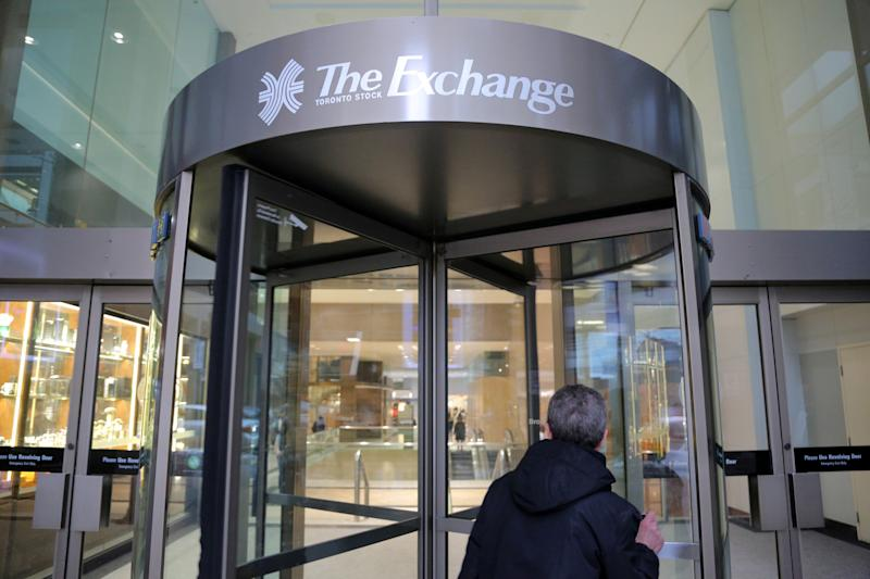 A Toronto Stock Exchange sign adorns a doorway at the Exchange Tower building in Toronto, Ontario, Canada January 23, 2019. REUTERS/Chris Helgren
