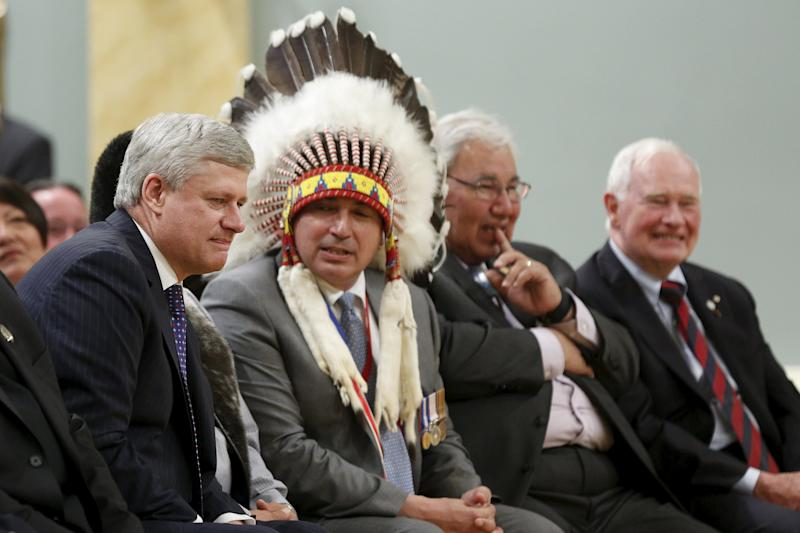 Canada's PM Harper, AFN National Chief Bellegarde, Justice Sinclair, and GG Johnston attend the Truth and Reconciliation Commission of Canada's closing ceremony at Rideau Hall in Ottawa