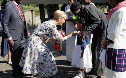 Sophie, Countess of Wessex, rrives at the RefuSHE Girls Empowerment Program and Artisan Collective in Nairobi - Credit: AP