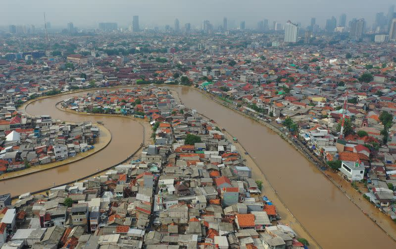 Aerial picture of an area affected by floods, next to Ciliwung river in Jakarta