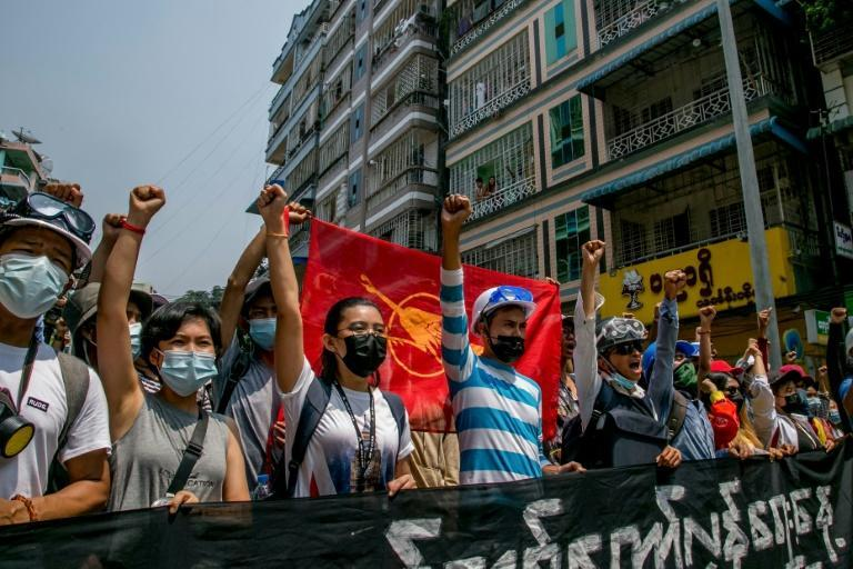 Protesters march in Yangon against Myanmar's military coup