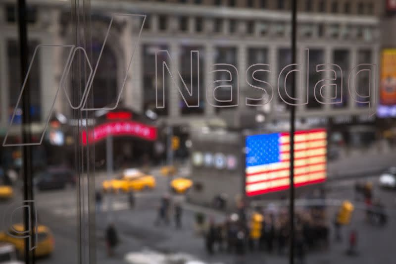The Nasdaq logo is etched into glass at the headquarters for the Nasdaq in New York