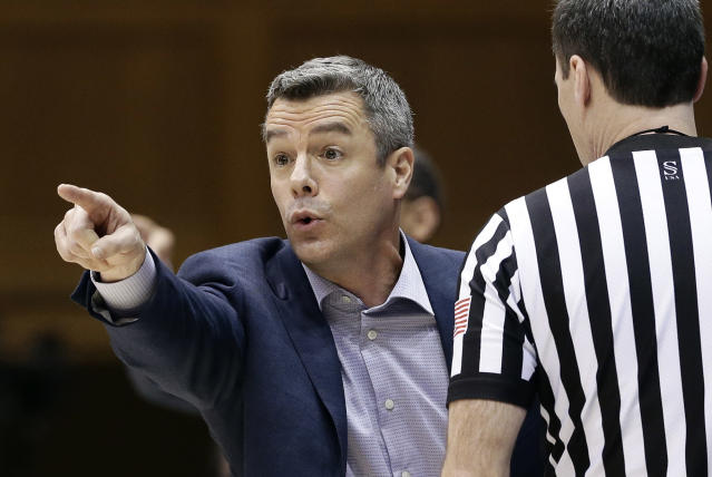 Virginia coach Tony Bennett reacts during the first half of the team's NCAA college basketball game against Duke in Durham, N.C., Saturday, Jan. 19, 2019. (AP Photo/Gerry Broome)