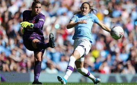 <span>Mary Earps in action on the opening day of the WSL season last weekend</span> <span>Credit: Getty Images </span>