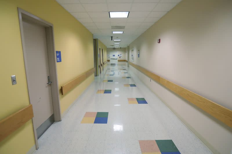 An empty hallway is pictured in a hospital in Philadelphia , Pennsylvania,