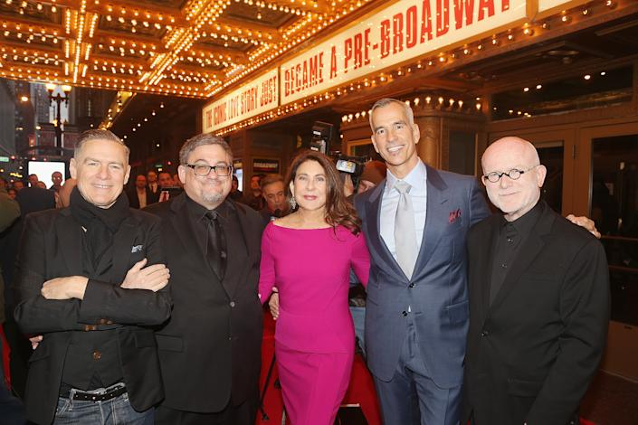 """CHICAGO, IL - MARCH 28:  (L-R) Co-Book Writer/Co-Composer Bryan Adams, Co-Book Writer J.F. Lawton, Producer Paula Wagner, Director/Choreographer Jerry Mitchell and Co-Composer Jim Vallance pose at The Opening Night of the Broadway bound musical based on the iconic film """"Pretty Woman"""" at The Oriental Theatre on March 28, 2018 in Chicago, Illinois. (Photo by Bruce Glikas/Bruce Glikas/WireImage)"""