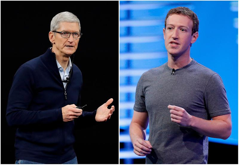 "In this combo of file photos, Apple CEO Tim Cook speaks on the new Apple campus on Sept. 12, 2017, in Cupertino, Calif., left, and Facebook CEO Mark Zuckerberg speaks at the F8 Facebook Developer Conference on April 12, 2016, in San Francisco, right. On Wednesday, March 28, 2018, Cook said his company wouldn't be in the situation that Facebook finds itself in because it doesn't sell ads based on customer data like Facebook does. Zuckerberg responded in a podcast on Monday, April 2, saying that the idea that Facebook doesn't care about its customers is ""extremely glib."" (AP Photo/Eric Risberg, File)"