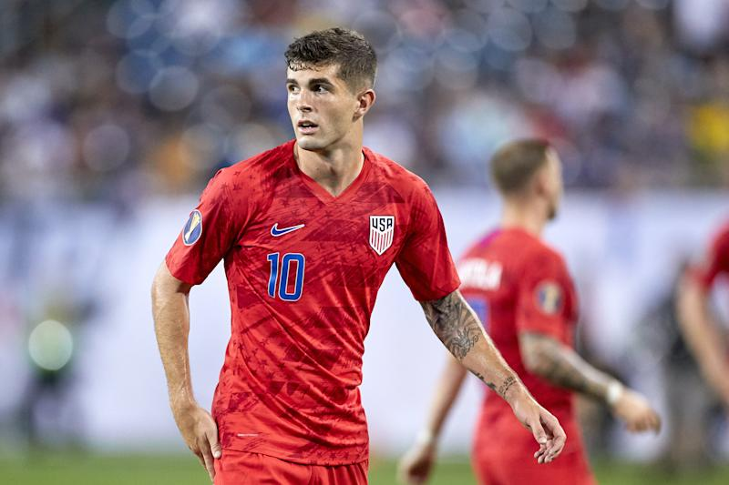 NASHVILLE, TN - JULY 03: United States midfielder Christian Pulisic (10) looks on during the Gold Cup semifinal match between the United States and Jamaica on July 3, 2019 at Nissan Stadium in Nashville, Tennessee. (Photo by Robin Alam/Icon Sportswire via Getty Images)
