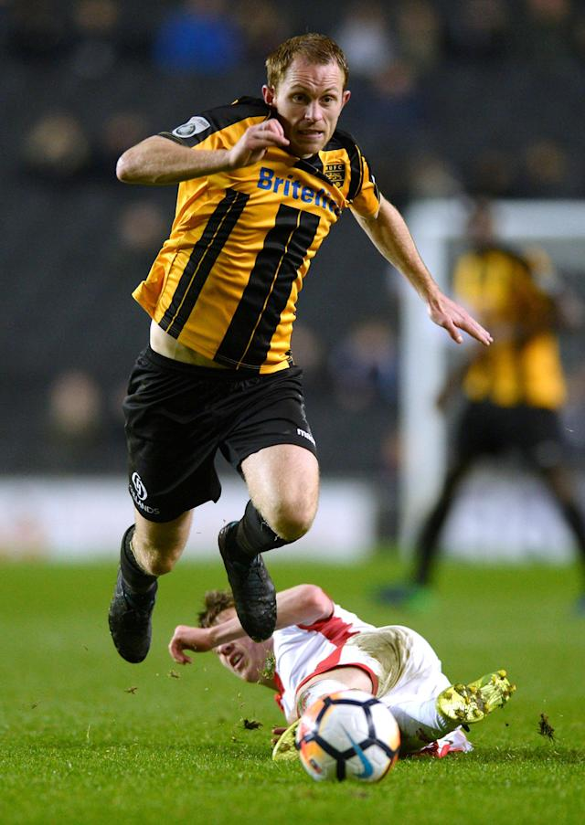 Soccer Football - FA Cup Second Round - Milton Keynes Dons vs Maidstone United - Stadium MK, Milton Keynes, Britain - December 2, 2017 Maidstone United's Stuart Lewis in action Action Images/Adam Holt