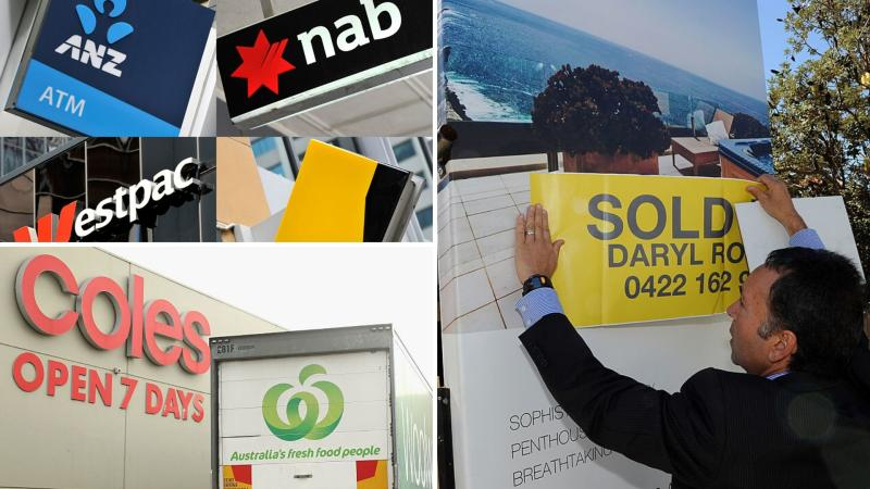 The signs for the four big banks, Coles and Woolworths, and a man applying a 'sold' sticker on a house sale sign.