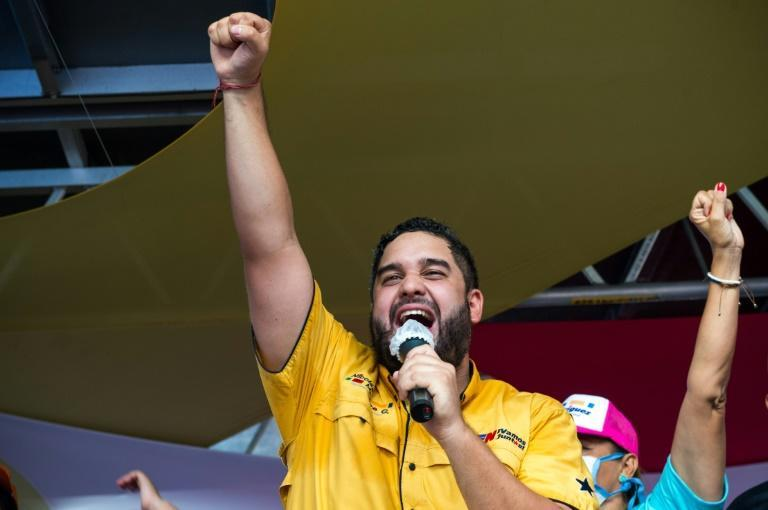 Nicolas Ernesto Maduro, the son of the Venezuelan president, addresses a rally in La Guaira, where he is standing as a candidate for the ruling Socialist Party in legislative elections on Sunday