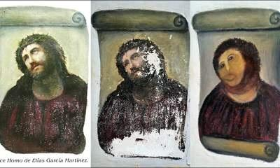 A woman in her 80s in Spain took it upon herself to restore a fresco in the Sanctuary of Mercy church in Borjanos. The original masterpiece dates back to the 19th century and is a Ecce Homo by Elias Garcia Martinez. Despite her good intentions, Cecilia Gimenez 's unofficial restoration was deemed the worst restoration work in history (SWNS)