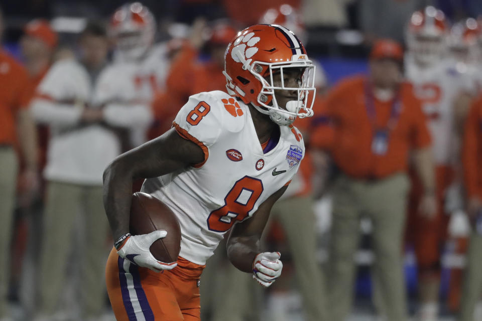 Clemson wide receiver Justyn Ross (8) during the first half of the Fiesta Bowl NCAA college football game against Ohio State, Saturday, Dec. 28, 2019, in Glendale, Ariz. (AP Photo/Rick Scuteri).