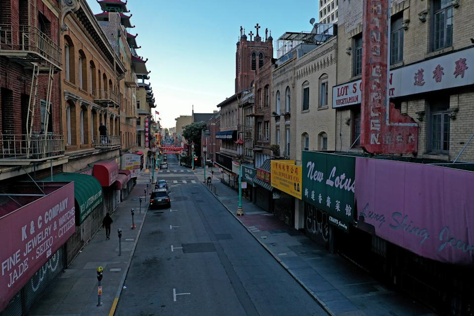 A deserted Grant Street in Chinatown on April 1, 2020, in San Francisco.