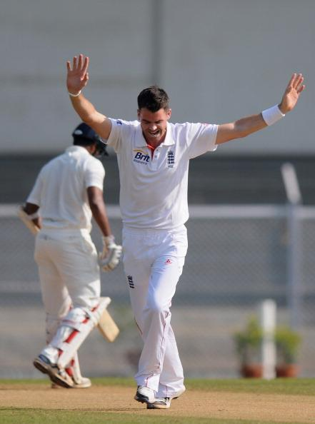 MUMBAI, INDIA - OCTOBER 31:   James Anderson of Englad and celebrates the wicket of Viany Kumar of India A during the second day of the first practice match between England and India A at the CCI (Cricket Club of India) ground,  on October 31, 2012 in Mumbai, India.  England will play three practice matches before the start of four test series  (Photo by Pal Pillai/Getty Images)