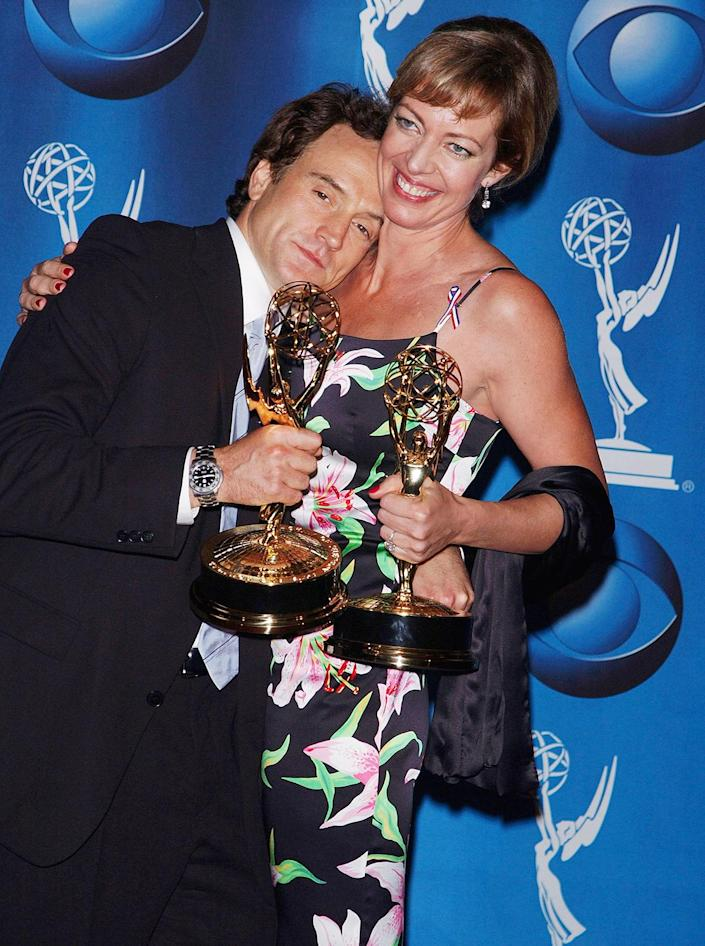<p><em>The West Wing</em> won outstanding drama series for the second year in a row and the two of the show's stars, Bradley Whitford and Allison Janney, took home awards for outstanding supporting actor/actress in a drama series. </p>