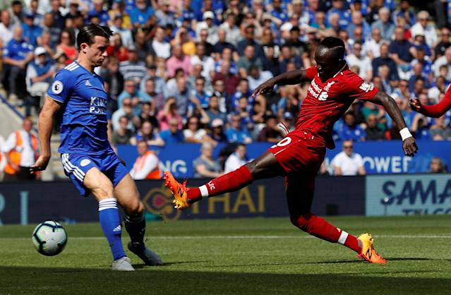 Sadio Mane scores Liverpool's first goal at Leicester