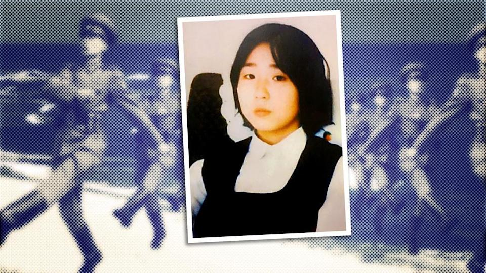 A composite image showing a picture of a Japanese 13-year-old, Megumi Yokota, superimposed over North Korean soldiers marching