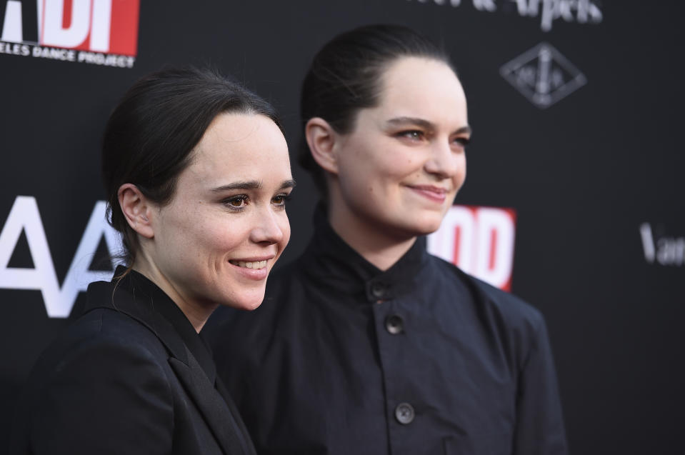 Ellen Page and Emma Portner arrive at the LA Dance Project Annual Gala and Unveiling of New Company Space on Saturday, Oct. 7, 2017 in Los Angeles. (Photo by Jordan Strauss/Invision/AP)