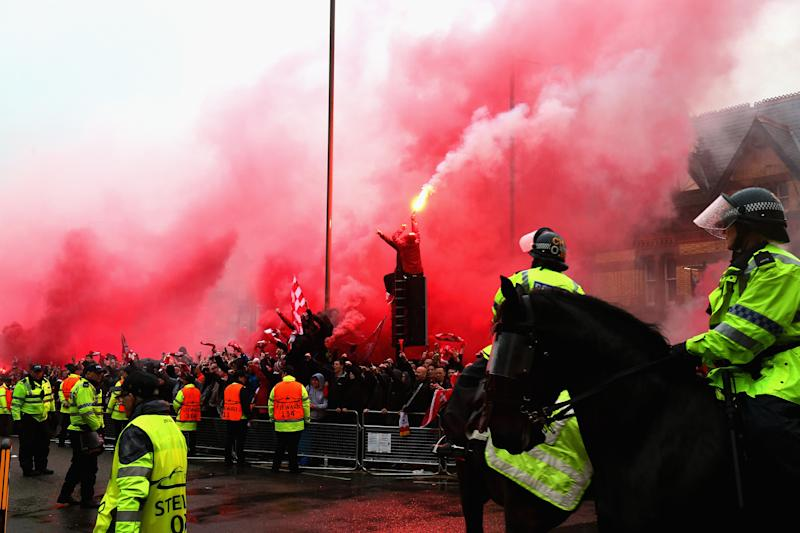 Two held after violence ahead of match at Anfield