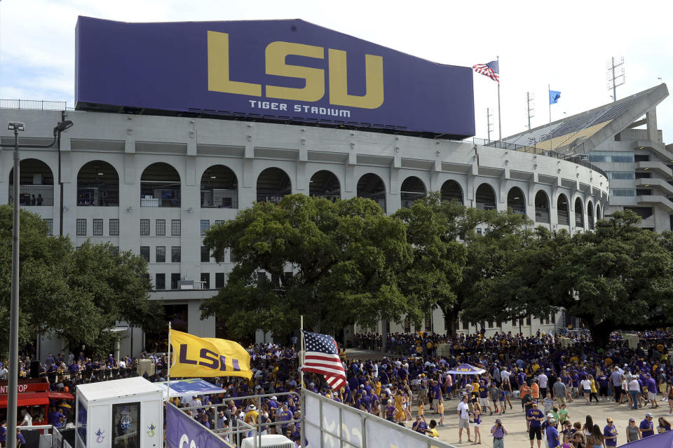 """FILE - Tiger Stadium is shown before an NCAA football game between LSU and Northwestern State in Baton Rouge, La., in this Sept. 14, 2019, file photo. LSU is requiring fans attending games at Tiger Stadium who are 12 or older to provide proof of vaccination for COVID 19 or a recent negative test. Our football team has reached 99.1% vaccination, and we are incredibly proud of them for doing their part to protect their team and their community,"""" Athletic Director Scott Woodward said. """"We are confident our fans will do the same."""" (AP Photo/Patrick Dennis, File)"""