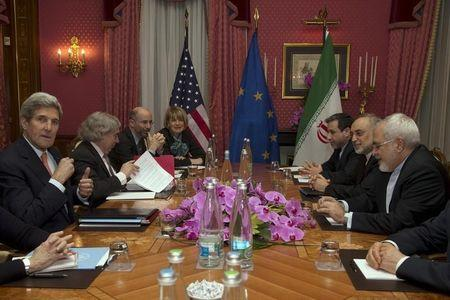 United States Secretary of State John Kerry holds a negotiation meeting with Iran's Foreign Minister Javad Zarif over Iran's nuclear program in Lausanne