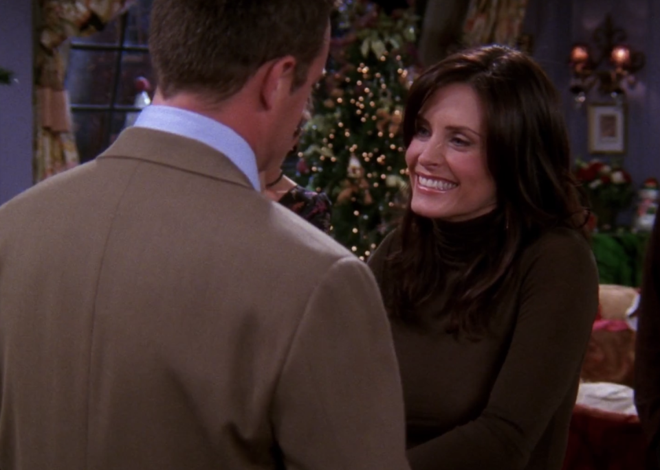 "<p>This episode begins with a major bummer. Chandler learns he must stay in Tulsa, Oklahoma for work and can't spend Christmas in New York with Monica (<strong>Courteney Cox</strong>). Making things worse, Monica worries Chandler is cheating on her when she finds out that one of his female colleagues volunteered to stay after hours to help him at the office. We won't give everything away, but let's just say that all is well by the end of the episode.</p><p><a class=""link rapid-noclick-resp"" href=""https://www.amazon.com/gp/video/detail/B002C65WR6/?tag=syn-yahoo-20&ascsubtag=%5Bartid%7C10063.g.35029576%5Bsrc%7Cyahoo-us"" rel=""nofollow noopener"" target=""_blank"" data-ylk=""slk:WATCH ON AMAZON"">WATCH ON AMAZON</a></p>"