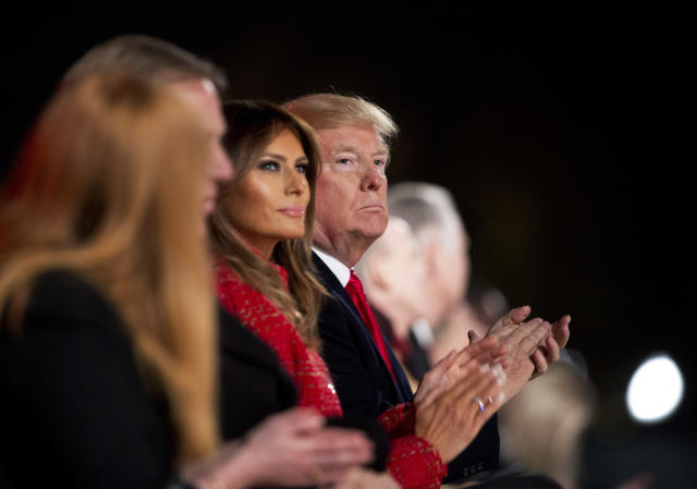 <p>President Donald Trump and first lady Melania Trump applaud as they watch performances during the lighting ceremony for the 2017 National Christmas Tree on the Ellipse near the White House in Washington, Thursday, Nov. 30, 2017. (Photo: Manuel Balce Ceneta/AP) </p>