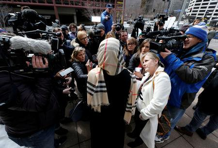 FILE PHOTO: Supporter of Minneapolis police officer Mohamed Noor speaks to media in Minneapolis