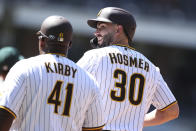 San Diego Padres' Eric Hosmer reacts after breaking up a no-hitter against the Oakland Athletics in the sixth inning of a baseball game Wednesday, July 28, 2021, in San Diego. (AP Photo/Derrick Tuskan)