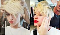 """<p><b>When: March 2, 2017 </b><br>Katy Perry posted a video to Instagram of freshly chopped blonde locks with a shaved undercut — and the singer now kind of resembles Miley Cyrus. """"I WASNT READY TILL NOW,"""" Perry boldly captions in one video, with celebrity hairstylist Chris McMillan standing behind her, playing with the new 'do. The chop comes shortly after reports that Perry and Orlando Bloom announced they were taking a """"respectful, loving space"""" from their year-long relationship. <i> (Photos: Instagram) </i> </p>"""