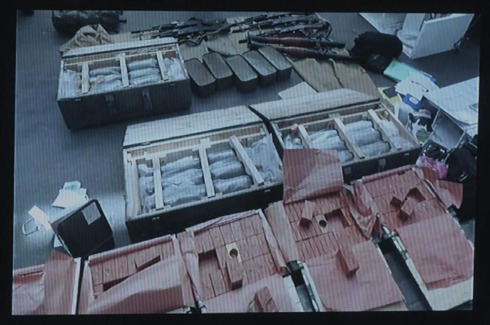 A video grab taken from Ukrainian SBU security service footage on June 6, 2016 allegedly shows the huge arsenal of weapons found in possession of an unidentified Frenchman, suspected to be a far-right extremist, at the border with Poland (AFP Photo/)