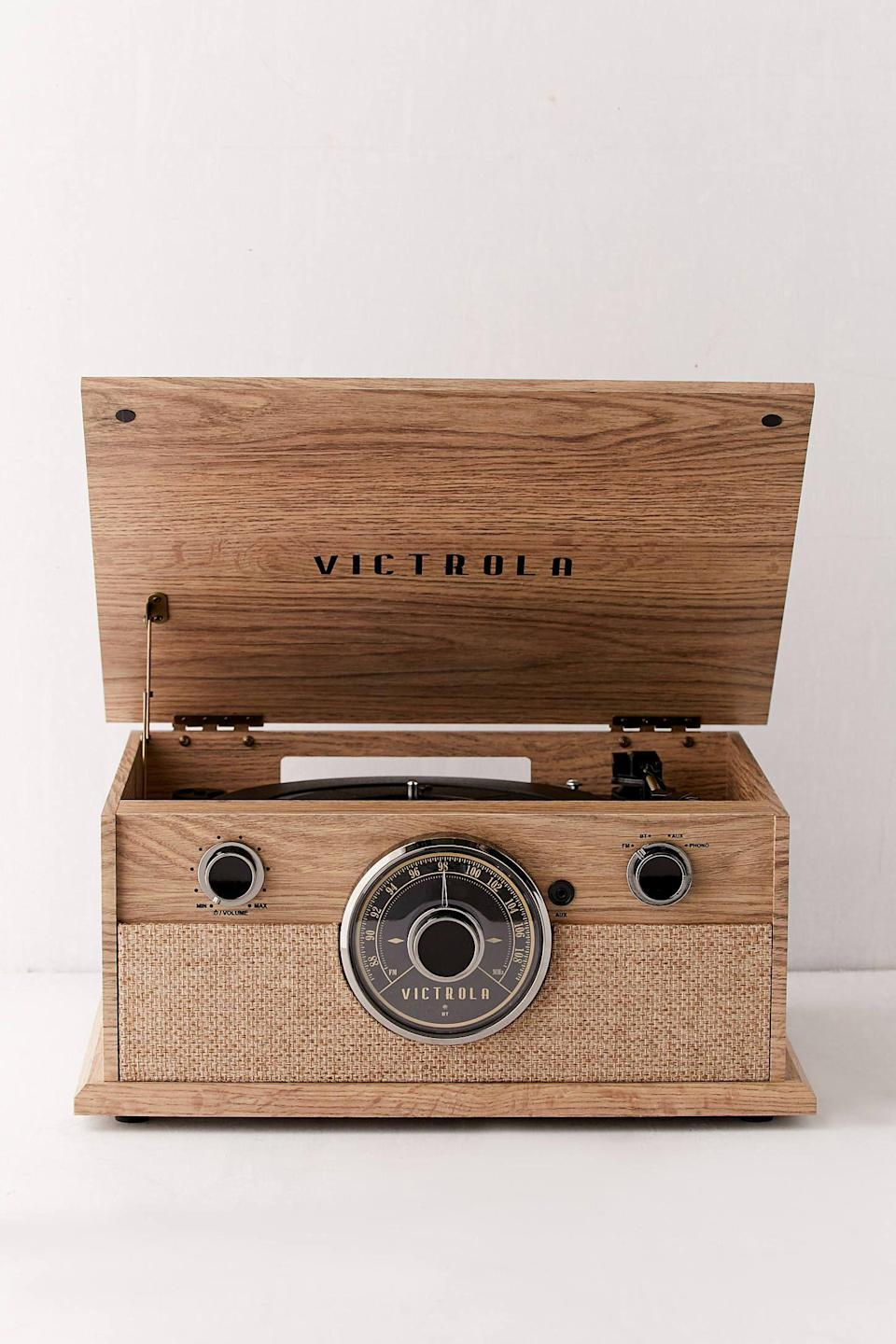 """<p><strong>Victrola</strong></p><p>urbanoutfitters.com</p><p><strong>$100.00</strong></p><p><a href=""""https://go.redirectingat.com?id=74968X1596630&url=https%3A%2F%2Fwww.urbanoutfitters.com%2Fshop%2Fvictrola-4-in-1-bluetooth-record-player&sref=https%3A%2F%2Fwww.countryliving.com%2Fshopping%2Fgifts%2Fg24168813%2Fboyfriend-gift-ideas%2F"""" rel=""""nofollow noopener"""" target=""""_blank"""" data-ylk=""""slk:Shop Now"""" class=""""link rapid-noclick-resp"""">Shop Now</a></p><p>This vintage-inspired record player will be a major upgrade from his current speaker system.</p>"""